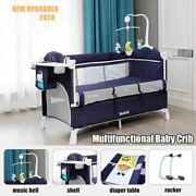 Multifunctional Baby Crib Foldable With Diaper Table Cradle Rocker Kid Game Bed