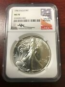 1986 Eagle S1 Ngc Ms-70 John M. Mercanti Signed And039and03912th Chief Engraverand039and039 Coin.