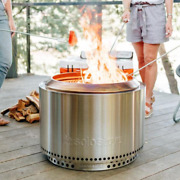 Round Wood Fire Pit Stove Flame Stand Backyard Bonfire Outdoor Patio Deck Heater