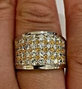 Bold Estate Natural Diamond App. 2.5ct Heavy 18k Yellow And White Gold Band Size 8