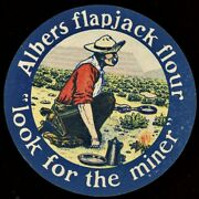 Albers Flapjack Flour Advertising Label Poster Stamp Cowboy
