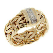 Hsn Passport To Gold 14k Byzantine Link Diamond Accented Band Ring Sz 7 659