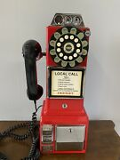 Crosley Red Retro Pay Phone Telephone Classic Wall Mount Coin Plastic
