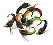 Fishing Insect Bait 8pcs Brass Bead Head Fast Siking Nymph Scud Bug Trout Lure
