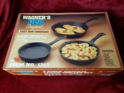 New 3 Wagnerand039s 1891 Original Cast Iron Pan Skillet Set 6.5 8 10.5 Usa.