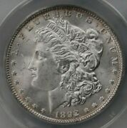 1892 Morgan 1 Anacs Certified Ms64 Mint State Graded Us Silver Dollar