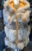 Unique And Hard To Find Fox Fur Reversible Vest Superior Quality Hood Stylish