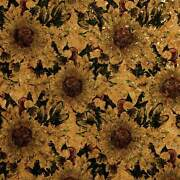 Cork Fabric Style 1001 - Black Sunflower 3 Sizes Available For Crafts And Sewing