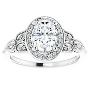 Vs 1.30 Ct Oval Diamond Vintage Halo Engagement Ring 14k White Gold Lab Grown