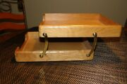 Unique Vintage Letter Paper Trays-stackable 2 - Tier Oak And Brass /pre Owned