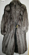 Pre-owned - Women / Woman Silver Fox Fur Coat 50 Long - Very Good Condition