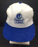 Vintage K-products Garst Snapback Trucker Hat Made In Usa Cap Farmer Blue/white