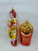 1997 Mcdonalds Glass Blown Ornaments Large French Fry And Ronald Mcdonald L59