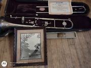 Vintage King Trombone Silver Tone 1936 H.n White W/ Bond Buckle Picture Of Owner