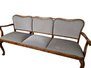 Antique Upholstered Bench Gray Solid Wood