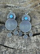 Navajo Sterling Silver Turquoise Crazy Circle Dangle Earrings