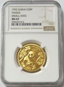 1992 Gold China 50 Yuan Panda Small Date 1/2 Oz Coin Ngc Mint State 67