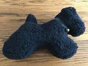 Pottery Barn Sherpa Teddy Faux Fur Doodle Dog W/ Bell Pillow Sold Out Nwt Black
