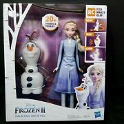 Disney Frozen 2 Talk And Glow Olaf And Elsa Dolls Hasbro New 20+ Sounds Phrases