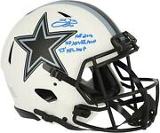 Emmitt Smith Dallas Cowboys Signed Lunar Eclipse Authentic Helmet And Inscs - Le22