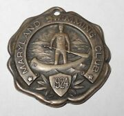 1924 Maryland Swimming Club Sports Pin Button Medal Token Sterling Robbins Co