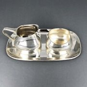Milk Jug, Sugar Bowl And Tray Manufactured In 925 Silver From Gottlieb Short