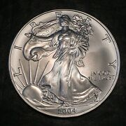 2004 Uncirculated American Silver Eagle Us Mint Issue 1oz Pure Silver J086