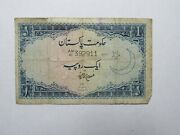 Old Pakistan Paper Money Currency - 8 Nd 1951 1 Rupee -well Circulated, Ink