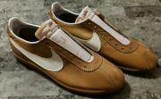 Nike Le Village Early 1970and039s Brown Leather Size 12.5 White Swoosh Super Clean
