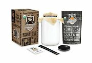 Kombucha Essentials Kit - Organic Scoby Starter Culture + 1-gallon Glass Fe...
