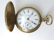 Antique C.1902 Waltham Womenand039s Pocket Watch 14k Gold Hunting Case 15 Jewel