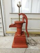 Antique Cast Iron Long Stroke Water Pump Table Lamp With Drawer Farmhouse Decor