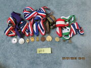 Lot Of 10 Neck Ribbon Medals Awards Most School And American Legion Related