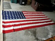 Vintage Wwii 48 Star Us American Flag Valley Forge Sewn Stars 5 X 9.5'