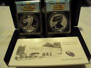 2013 W Silver Eagle Two Coin Set Enhanced Pr. 70 Reverse Pr. 70 With Ogp And Coa