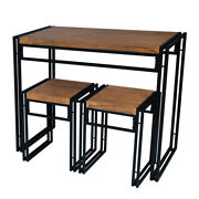 Modern 3-pc Dining Set Small Space Table With 2 Stool Kitchen Room Wood And Metal