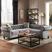 Button Tufted Velvet Upholstered Classic L Shaped Sectional Sofa Pillow Included