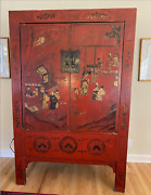 Antique Red Chinese Wardrobe Cabinet/unique Detail