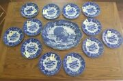 Rare And Stunnning 1900and039s Ridgways Turkey Flow Blue Platter And Plates