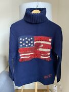 Polo Womens Roll Neck Jumper American Flag Usa Rl67 Xs S Small Nwt