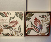 Williams Sonoma 4 Jacobean French Floral Cork Hard Coasters In Box 2 Boxes