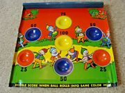 Vintage Tin Litho And Wood Skill Ball Game Brownies Antique Unknown