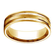10k Yellow Gold 6mm Comfort Fit Satin Finish Grooves Carved Band Ring Sz 11