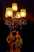 5 Lilly White Tulip Glass Globes Capodimonte Table Lamp 38 Rainbow Crystals 40