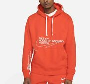 Nike Club Fleece Nyc House Of Innovation Pullover Hoodie Orange White Menand039s M