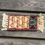 Old Vintage Small Miniature Hand Woven Wool Rug Ideal For Dolls House Decoration
