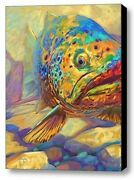 Savlen Fly Fishing Abstract Brown Trout Xl Signed Original Giclee Painting Art