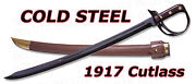 Cold Steel Never Unarmed 1917 Cutlass Sword With Leather Scabbard 88cs New