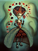 Queen Of Hearts By Diana Levin Alice In Wonderland Tattoo Canvas Fine Art Print