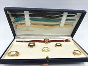 Vintage Bucherer Swiss Made Watch With Interchangeable Faces And Bands Orig Box